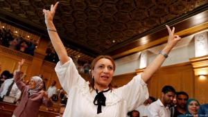 Souad Abderrahim, a candidate of the Islamist Ennahda party celebrates after being elected mayor of the city of Tunis on 3 July 2018. She is the first Tunisian woman to hold the post (photo: REUTERS/Zoubeir Souissi)