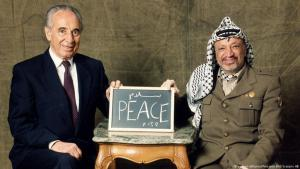 Former Israeli Foreign Minister Shimon Peres and former Palestinian leader Yasser Arafat (photo: picture-alliance/Pressens Bild Scanpix AB)