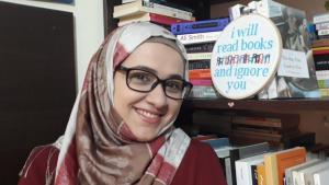 Hoda Marmar, administrator of Beirutʹs Bookoholics (photo: Hoda Marmar)