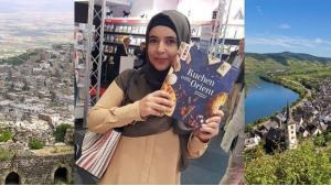 Her parents' home town in Syria; German-Syrian Huda Al-Jundi with her book at the Frankfurt Book Fair; Worms on the Rhine (photo: private)