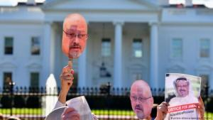 Code Pink demonstrators in front of the White House demand an investigation into the death of Saudi journalist Jamal Khashoggi (photo: imago stock&people/Kevin Dietsch)