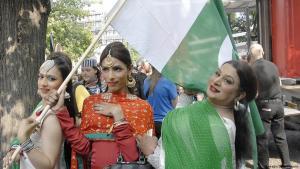Pakistani Hijras attend a transsexual demonstration in Copenhagen, Denmark on 15 August 2015 (photo: Imago/Dean Pictures)