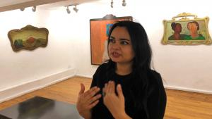 Egyptian artist Soad Abdelrasoul at her exhibition opening in Cairo's Mashrabiya Gallery (photo: Jacob Wirtschafter)