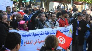 Protesters on Avenue Bourguiba in Tunis following a mass demonstration in front of the UGTT headquarters on 17.01.2019 (photo: Sofian Philip Naceur)