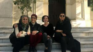 From left, exhibition co-ordinator Heba Farid, artist Huda Lutfi, curator Shiva Balaghi, and artist Sherin Guirguis (photo: Sherin Guirgis)