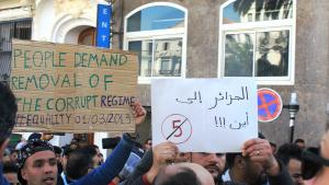 Algerians protest against the idea of Bouteflika gaining a fifth term in office in downtown Algiers (photo: Sofian Philip Naceur)