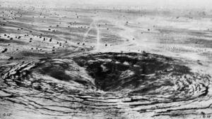 A crater marks the site of the first Indian underground nuclear test conducted 18 May 1974 at Pokhran in the desert state of Rajasthan (photo: AP)