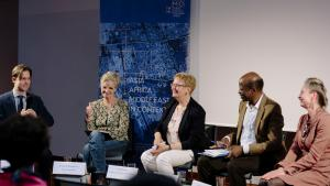 The discussion panel hosted by the ZMO with – from left to right – Bekim Agai, Charlotte Wiedemann, Ulrike Freitag, Mamadou Diawara and Claudia Derichs (photo: Anika Bussemeier)