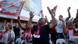 Supporters of the main opposition Republican People's Party (CHP) celebrate in front of the election co-ordination centre of their mayoral candidate Ekrem Imamoglu in Istanbul, Turkey, 23 June 2019 (photo: Reuters/C. Alkaya)