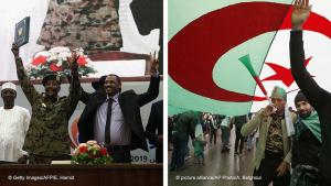 Photo montage Sudan/Algeria: in Sudan the military and the protesters managed to negotiate an agreement, in Algeria, demonstrations continue (photo: AP/picture-alliance/AFP/Getty Images)