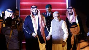 India's Prime Minister Narendra Modi shakes hands with Saudi Arabia's Crown Prince Mohammed bin Salman upon his arrival at an airport in New Delhi, India, 19 February 2019. (photo: Reuters/Adnan Abidi)
