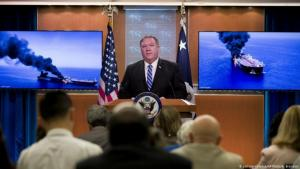 U.S. Secretary of State Mike Pompeo giving a press conference on 13 June 2019  following oil tanker attacks in the Persian Gulf (photo: picture-alliance/AP)
