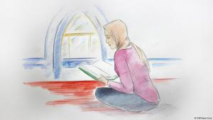 Illustration: Young German woman with headscarf sitting on the floor in a mosque, reading the Koran (DW/Gesa Kuis)