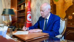 Tunisian president Kais Saied (photo: picture-alliance/Photoshot/Handout Tunisian Presidency)