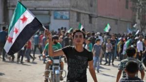 For Syria, against the regime: anti-Asssad demonstrators in Hazzanu, close to Idlib, September 2018 (photo: Getty Images/AFP/A. Watad)
