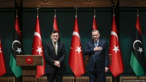 Libyan Prime Minister Fayez al-Sarraj (left) visiting the Turkish president, Recep Tayyip Erdogan, on 4 June 2020, Ankara (photo: picture-alliance/AA/M. Aktas)
