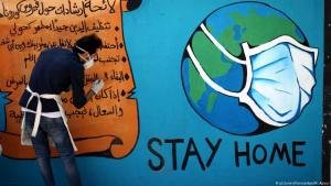 Coronavirus graffiti in Gaza (photo: picture-alliance/dpa/M. Ajjour)