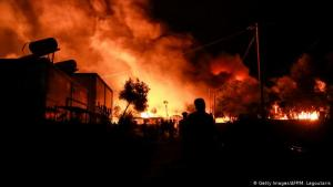 Fire broke out in a number of places around the Moria refugee camp on the Greek island of Lesbos late on the night of Tuesday, 8 September 2020. This led authorities to suspect arson. Some in the camp have suggested locals set the fires; other reports point to the migrants themselves.