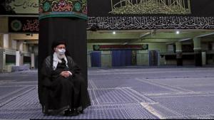 Iran's spiritual leader, Ali Khamenei, wearing a face covering during a Muharram ceremony (photo: khamenei.ir)
