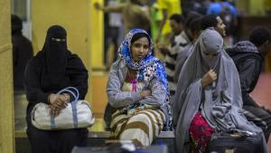 Ethiopian women deported from Saudi Arabia in 2017 wait in Addis Ababa to be picked up by their families (photo: Mulugeta Ayene/AP)