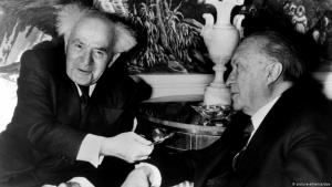 Former German chancellor Konrad Adenauer (right) and former Israeli prime minister David Ben-Gurion on 14 March 1960 in New York (photo: dpa/picture-alliance)