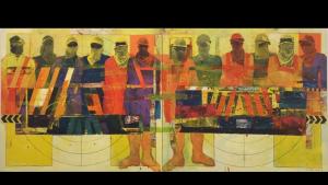 """""""Truck and Workers"""", 2011, by Qatar artist Faraj Daham (photo: Sultan Sooud Al Qassemi)"""