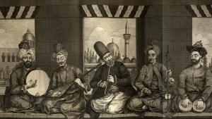 "Syrian music band from Ottoman Aleppo, mid 18th century, by Alex. Russel, M.D. 1794. The Chamber Music drawn from life, as described by Russel, ""the first is a Turk of lower class, he beats the Diff [Daff]. The person next to him is an ordinary Christian and plays the Tanboor. The middle figure is a Dervish, he is playing the Naie [Nay]. The fourth is a Christian of middle rank, he plays the Kamangi. The last man, he beats the Nakara with his fingers in order to soften the the sound for the voice, but the drum sticks appear from under his vest"" (source: Wikipedia.org: Public Domain)"