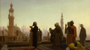 """Prayer in Cairo"" by Jean-Leon Gerome (source: Kunsthalle Hamburg [[File:Prayer in Cairo 1865.jpg