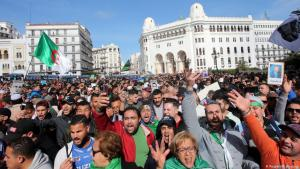 People protesting in Algiers on 21 February 2020, before the spread of Coronavirus hindered protests in Algeria (photo: Reuters/R. Boudina)