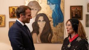French President Emmanuel Macron with the Lebanese singer Nouhad Haddad, known as Fairouz, Beirut, 1 September 2020 (photo: Soazig de la Moissonniere/Présidence de la République)