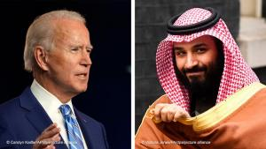 Left: 04.11.2020, USA, Wilmington: Joe Biden, Democratic presidential candidate, gives a speech in Wilmington (photo: Carolyn Kaster/AP/dpa +++ dpa-Bildfunk +++) || Right: 07.03.2018, Great Britain, London: Mohammed bin Salman, Crown Prince of Saudi Arabia