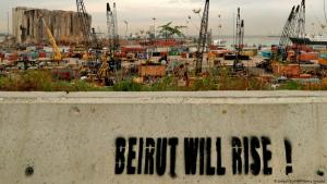 """Beirut will rise"" graffiti on a wall near the destroyed port (photo: Joesph Eid/AFP/Getty Images)"