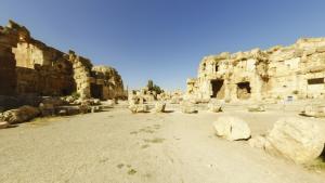 Hexagonal courtyard in the Temple of Jupiter, Baalbek, Lebanon