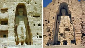 A Buddhist centre in the Bamiyan Valley: the statues were located on one of the ancient major trade routes between China and South Asia. The valley of Bamiyan, about 200 kilometres northwest of Kabul, acted as a centre for Buddhists. Several thousand Buddhist monks lived in the valley during the 6th century AD