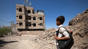 12-year-old Ahmed Al-Yousofi is among 1150 children using in an unfinished house near the frontlines in Taiz as a school (photo: Khaled Al-Banna/NRC)