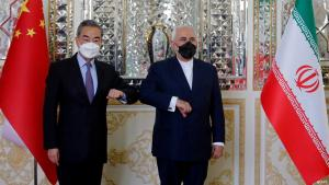 Chinese Foreign Minister Wang Yi (left) and Iranian Foreign Minister Javad Zarif, Tehran, March 2021 (photo: AFP)