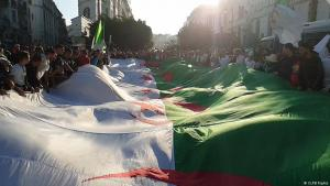 Hirak supporters bearing the Algerian flag (photo: CLPB Rights)