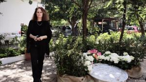 Monika Borgmann stands beside a memorial to her murdered husband Lokman Slim (photo: Lea Bartels)