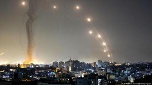 Rocket fire from Gaza into Israel on 10 May 2021 (Mahmud Hams/AFP/Getty Images Fired)