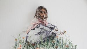 """Beizar Aradini's work """"To and From Home"""", thread on tulle, 2021 (courtesy of the artist)"""
