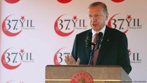 Turkish President Recep Tayyip Erdogan on his visit to Northern Cyprus, July 2021 (photo: Mustafa Oztartan/Presidential Press Office/Reuters)