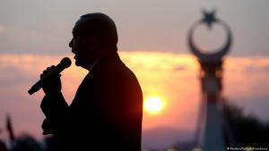 Turkish President Recep Tayyib Erdogan during a speech on an earlier anniversary of the coup attempt in Turkey in 2016 (photo: Reuters/Turkish Presidency)