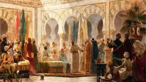 'Abd al-Rahman III receiving the Ambassador' by Dionisio Baixeras Verdaguer (1862–1943 CE). Oil on canvas, 1885 CE. University of Barcelona (source: Wikipedia. Original image by BomBom. Uploaded by Ibolya Horvath, published on 11 February 2019 under the following licence: Public Domain)