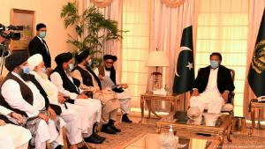 Pakistan's Prime Minister Imran Khan meets with Taliban leaders (photo: Pakistan Prime minister office/AFP)