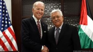 Archive image: U.S. Vice President Joe Biden, left, and Palestinian President Mahmoud Abbas, shake hands for the press at the presidential compound in Ramallah, West Bank, 9 March 2016 (photo: Debbie Hill/AP Photo/picture-alliance)