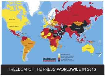 Reporters Without Borders Press Freedom Index 2016 (source: Reporters Without Borders)