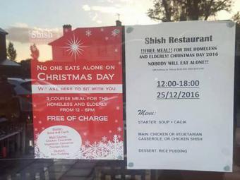 Muslim restaurant in London offers free Christmas dinner (source: Facebook)