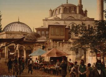 A mosque and street in the Scutari district of Constantinople, in a fascinating image which gives an impression of day-to-day life during the latter years of the Ottoman Empire