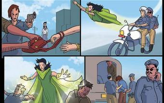 """PakistanGirl"" superhero by Hassan Siddiqui (source: Capital Comics)"