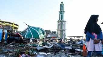 A collapsed mosque in Indonesia following earthquake and tsunami at end of September 2018 (photo: AFP/Getty Images/J. Samad)